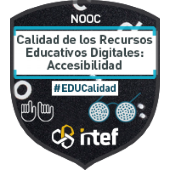 """Imagen insignia NOOC """"Calidad de los Recursos Educativos Digitales: Accesibilidad (1ª Edición)"""" - #EDUcalidad"""