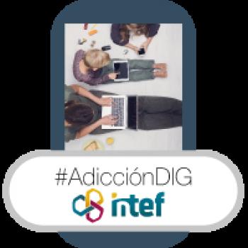 """Imagen insignia NOOC """"Adicción a la tecnología (2ª edición)"""" - #AdicciónDIG"""