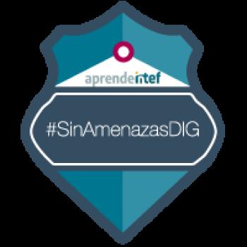 """Imagen insignia NOOC """"Ante la amenaza digital, ¡actúa! (2ª edición)"""" - #SinAmenazasDIG"""