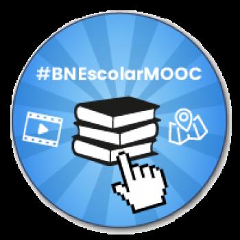 """Imagen insignia MOOC """"BNEscolar: descubrir y crear experiencias de aprendizaje con los recursos de la Biblioteca Nacional de España"""" - #BNEscolarMOOC"""