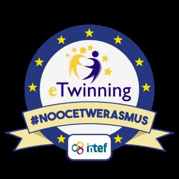 """Imagen insignia """"eTwinning en Erasmus+ (3ª edición)"""" - #noocetwerasmus"""