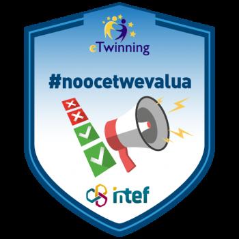 """Imagen insignia NOOC """"Evalúa y difunde tu proyecto eTwinning (3ª edición)"""" - #noocetwevalua"""