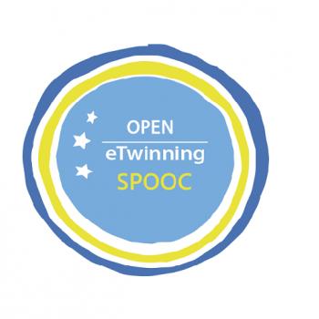 """Open eTwinning"" SPOOC badge image - #Twinmooc"